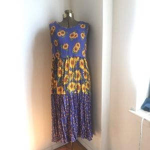 Vintage Sunflower Gauzy Dress